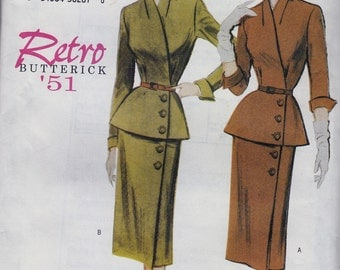 Retro 1951 Sewing Pattern: Wrap Top, Skirt, Belt -- Butterick 6241 Vintage Style