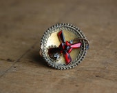 Victorian Etruscan Revival pin with vauxhall glass ∙ Antique vauxhall glass pin