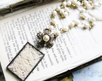 Snippets of Time,Vintage Lace Under Sodered Glass, & Vintage Rhinestone Brooch, Pearls Rosary Chain, Modern Victorian Assemblage Necklace