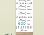Thank You For the Food We Eat  Blessing, Canvas Tapestry, Typography Word Art  Distressed Wall Sign