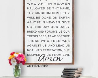 The Lords Prayer Sign - Our Father Sign, Scripture Sign, Our Father Who Art in Heaven Sign, Wooden Sign