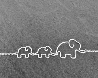 Mom Jewelry - Elephant Mother with Two Babies Necklace, Mommy and Baby Elephant Necklace, Elephant Jewelry