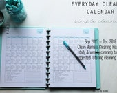 CLEAN - Clean Mama's EVERYDAY Cleaning CALENDAR - September 2015-December 2016 - standard and half size included - Instant Download