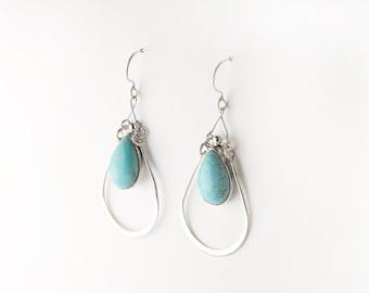 Rain Drop Turquoise Sterling Silver Earrings