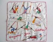 RESERVED for KELLY MECARTNEY Vintage Handkerchief - Hankie - Artist Jacques Charmoz - Kreier Hankie - Expert Skier - Vintage Ski