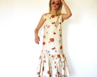 50s Floral Poppy Extreme Peplum Mermaid Drop Waist Deco Midi Dress xxs xs s