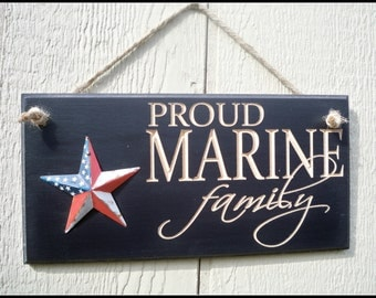 Marine Corps, carved Marine sign, us marines, military sign, Proud Marine Family, sign, family sign, routed sign, carved sign