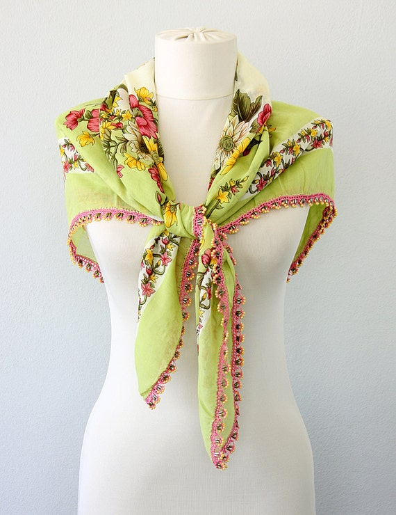 Cotton Turkish scarf Beaded scarf Needle lace Oya shawl summer scarves lacework gauze square shawl Women accessories traditional Green