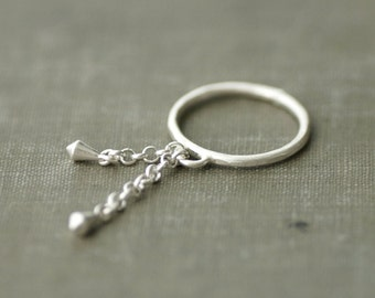 Sterling Silver Dangling Statement Ring with Drops - Made to Order