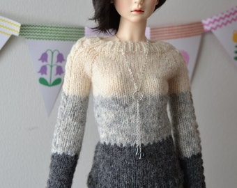 Hand-knitted three-tone sweater/jumper for Slim SD, Supia, SD13 etc.
