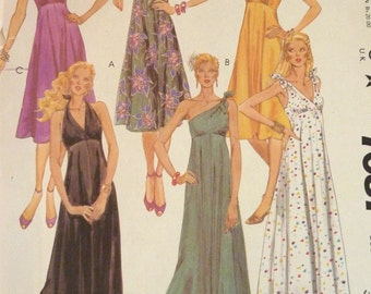 Vintage Halter Dress Pattern Neck Tie or One Shoulder Tie Options Mid or Maxi Dress Length Full Skirt Size 9 Bust 33 McCall's Uncut