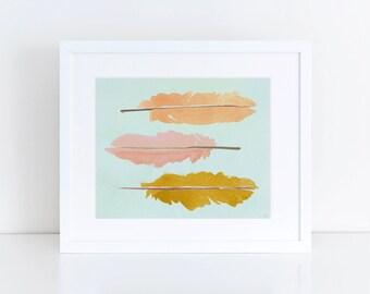Feather Print, Watercolor, Nursery Wall Art, Wall Art, Office Decor,  Art Print Watercolor Wall Art 8 x 10