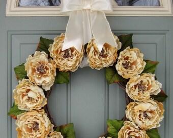 Summer Wreath - XL Summer Peony Wreath - Summer Door Wreath