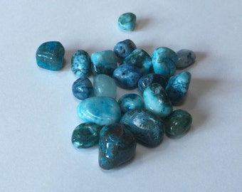 Blue Agate Nugget Beads - 20 beads