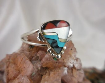Native American Inlaid Turquoise Sterling Ring