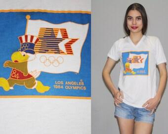 Vintage  1984 Los Angeles Olympics T Shirt - V Neck T Shirt  - Vintage Summer Olympics - Vintage 1984 LA Olympics  -  Wz0625