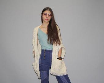 Vintage 70s Irish Merino Wool Carraigdonn Cable Knit Wool Ivory Fringed Sweater Shawl  - Vintage Fur Sweater  - Vintage Sweaters  -  WO0645