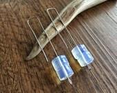 Modern Opalite Quartz drop earrings, glowing stone wire drops