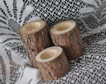 Natural Pine Candle Holders • set of 3