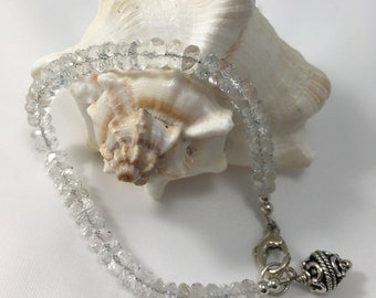 Sterling Silver and White Topaz Bracelet-Bohemian Ice