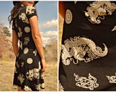 Vintage 90s Dragon and Mandala Asian Motif Tank Dress Grunge Club Kid Small Medium