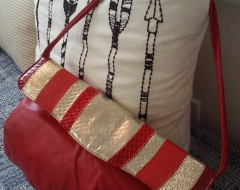 70s MARGOLIN--Gold and Red Clutch--Snake and Leather