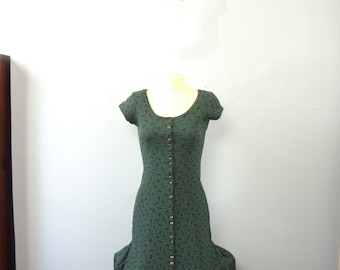 Vintage 80's forest green maxi dress, long dress with buttons, size 7 / 8