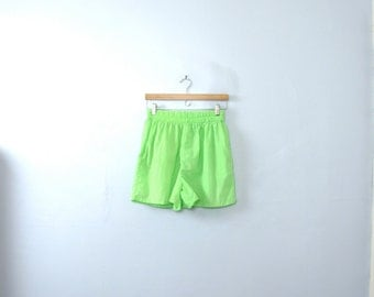 Vintage 80's bright neon green running shorts, workout shorts, women's size large