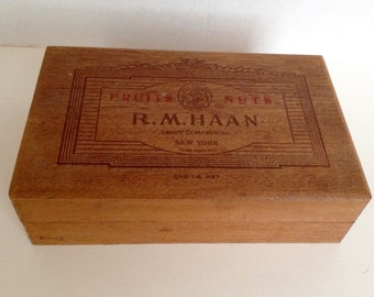 Vintage Wooden Box R M Haan Candy Co Fruit and Nut Lidded Wood Box Empty