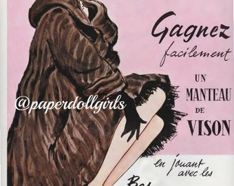 Vintage Fashion Magazine Advertisement L Officiel April 1956 Magazine Ad Gagnez Nylon Hosiery Paris Haute Couture Pierre Simon Illustration