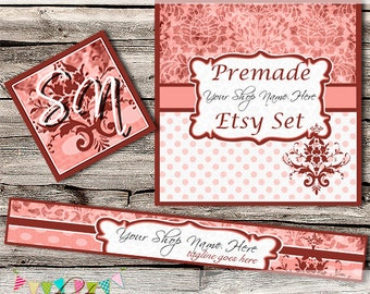 Etsy Shop Set - Premade Etsy Banner - Etsy Shop Banner - Etsy Cover - Etsy Shop Icon - Avatar - Elegant Damask