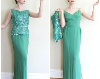 Vintage 1960s Green Evening Dress with Sequins / 60s Green Sleeveless Party Dress with Shell