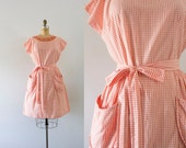 1960s Coral Rose gingham wrap dress / 60s Swirl beauty