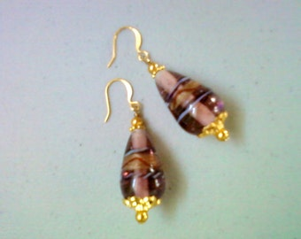 Amethyst and Gold Earrings (0784)
