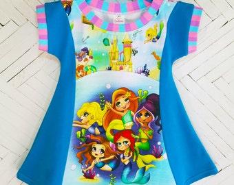 Mermaids girls dress size 4 4T tunic dress spring dress summer dress sun dress tunic top mermaid dress mermaid scales toddler dress