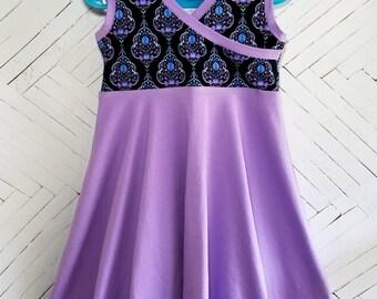 Purple batik girls dress size 6 S twirly summer dress sun dress tank dress classic style chic dress black fancy dress