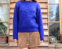 80s French VTG purple blue MOHAIR FUZZY sweater wool knit Size S