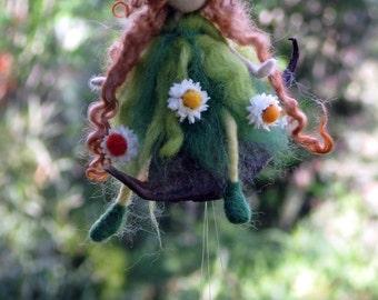 Spring gift mobile Needle felted Art doll Home decor Flower fairy on pod