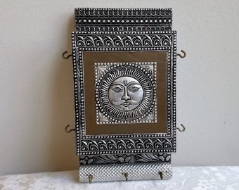 Vintage Embossed Mixed Metal Wall Art Mail & Key Holder Wall Pocket With Celestial Sun Face, Bohemian Decor