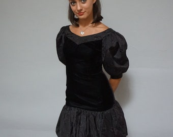 90s dropped waist LBD 1990s puffy sleeves black mini dress formal dance pastel goth avant garde high fashion short extra small XS S gothic