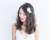summer rose bud hair pin set of two in ivory // bridesmaid hair accessory, flower bobby pins
