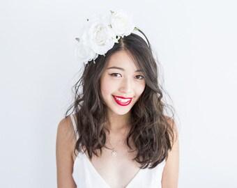 white rose statement floral headpiece // Elsah / flower statement headband, wedding bridal hair crown, fascinator, garden wedding, spring