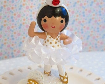 Ballerina Cake Topper,Baby's First, Birthday Party,Cake Smash,Red Tutu,White Tutu,Wood and Clay,Handmade, Hand Painted,Cake Décor,Decoration