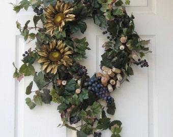 Door Wreath - Wine Country – Front Door Wreath – Year Round Wreath – Wine Cork Wreath