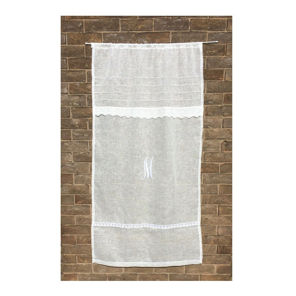 Sheer Ivory Linen Curtain Net Curtain Narrow Window Curtain