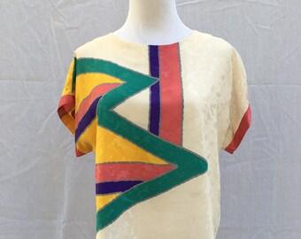 Vintage Neiman Marcus Geo Shirt - 80's