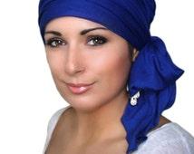 Royal Blue Turban Chemo Hat Head Wrap Alopecia Head Scarf Jersey Knit, Hat & Scarf Set 78-58