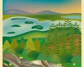 Acadia National Park Poster, National Park Art, Maine Print, Acadia Park skyline, Acadia Park Map, Maine Art Gift, Art - style code E8-O-ACA