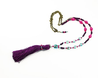 Bright Purple Beaded Silk Tassel Necklace with Hot Pink and Aqua Czech beads, Bohemian Jewelry, Long Beaded Adjustable Length Boho Necklace