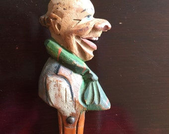Vintage Handpainted Handcarved Wooden Fork Face Grotesque Primitive